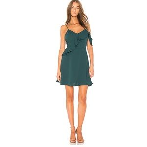 J.O.A. Green Double Ruffle Fit & Flare Mini Dress